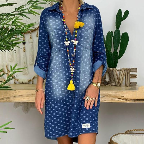 Casual Turndown Collar Pocket Star Pattern Wash Denim Dress