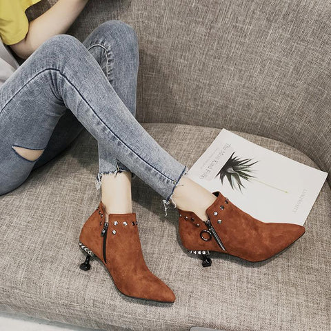 Women's Fashion Suede Studs Solid Color Pointed Ankle Boots