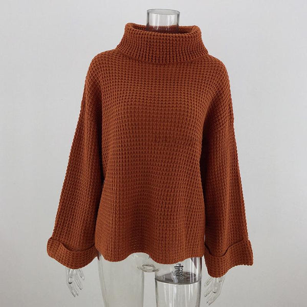 Solid Colour Long Loose Sleeves Large Size Turtleneck Sweater