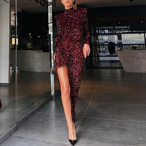 Women's fashion high collar long sleeve sequin split dress
