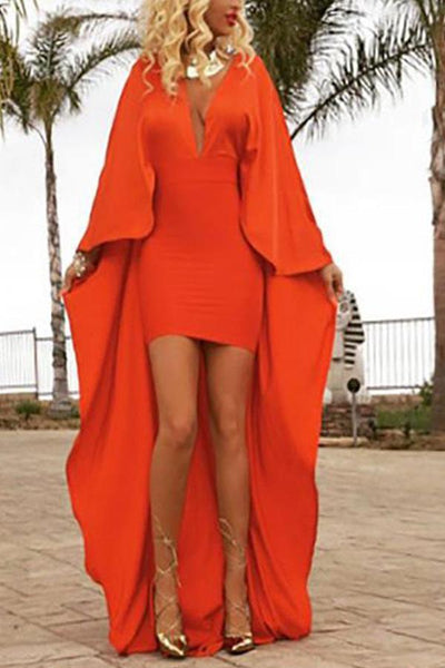 Solid Color Bat Sleeve Pencil Deep V Evening Dress