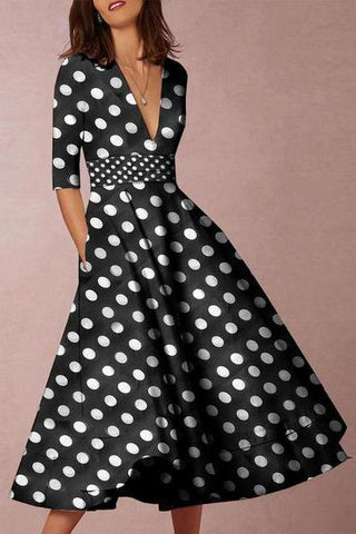 streettide V-Neck Polka Dot Printed Casual Dresses