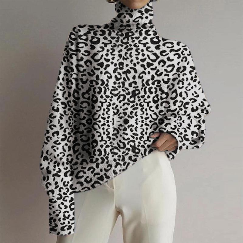 Women's fashion high collar leopard printed long-sleeved shirt