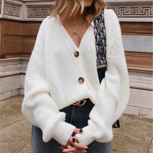 Knitwear Solid Color Button Cardigan V-Neck Sweater