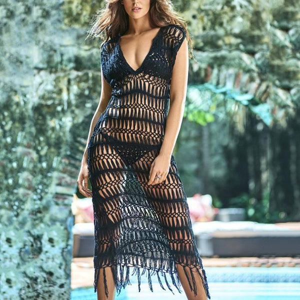 Sexy vacation beach mesh lace openwork long dress blouse