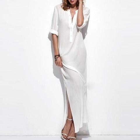 Super Deep V Collar National Style Maxi Dresss