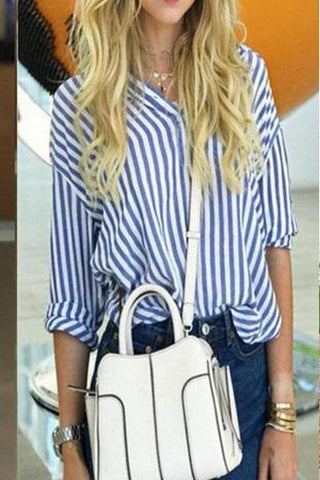 Classic Stripes V Collar Long Sleeved Shirt
