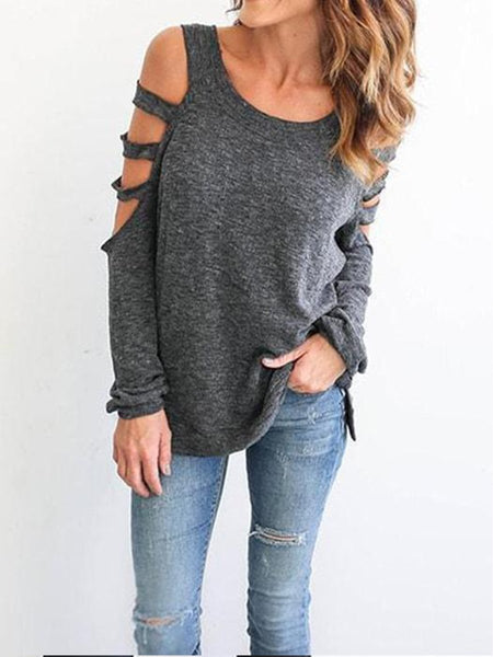 Round Neck Long Sleeve Shoulder Exposed Shirt