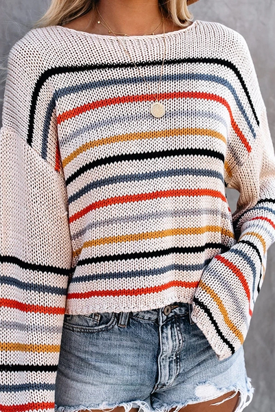 Fashion Rainbow Stripe Contrast Stitching Loose Sweater