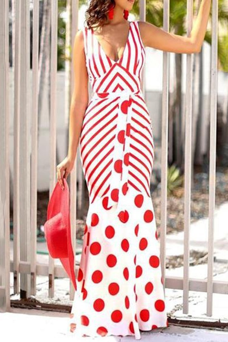V-Neck Backless Striped Pot Print Maxi Evening Dress