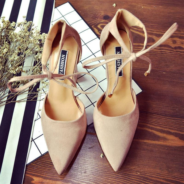 Summer new pointed thick heel band straps ladies nude color ultra high heel sandals