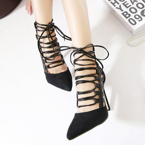 Suede Pointed Strap With High Heel Sandals