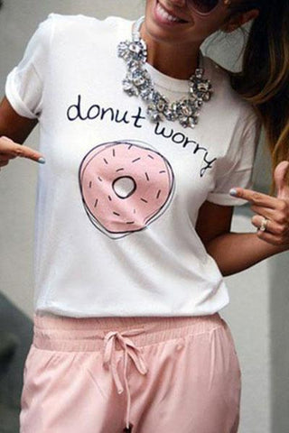 Casual Round Collar Pink Doughnut Printed Summer Short Sleeve Blouse