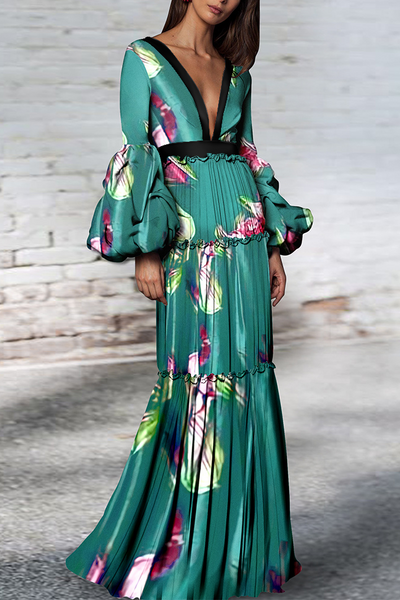 Sexy Floral Print Deep V Collar Long Puff Sleeve Ruffled Maxi Dress