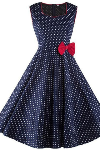 Retro Bow Knot Square Collar Dot Printed Expansion Skater Dress