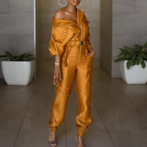 Fashion leisure solid color jumpsuit