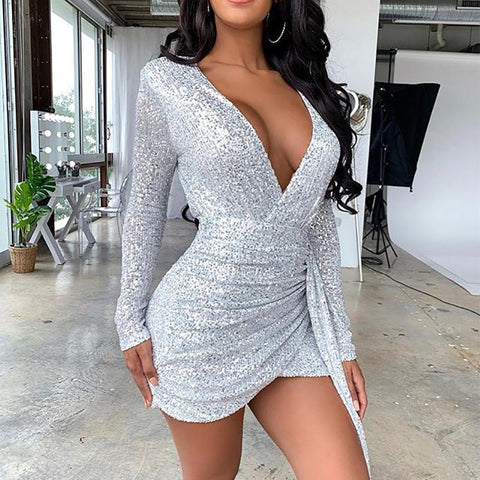 Women's Sexy Deep-V Neck Long Sleeve Tight Dress