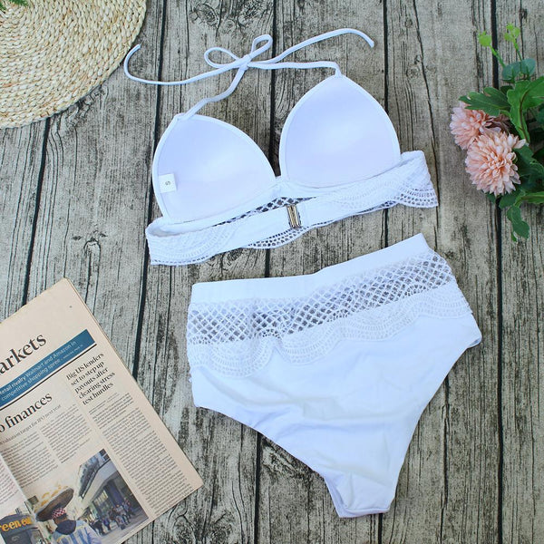Sexy Bikini Lace White Bandage Split Swimsuit