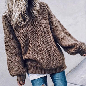 casual loose long puff sleeves round neck sweater