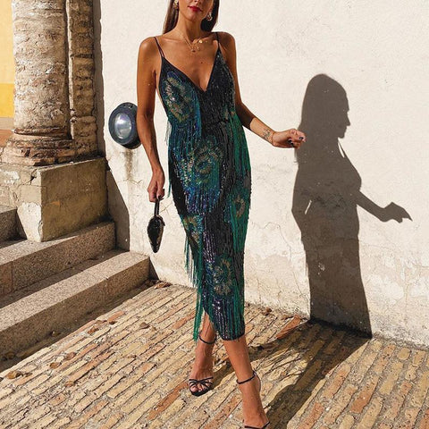 Sexy sequin fringe deep v slim midi sling evening dress