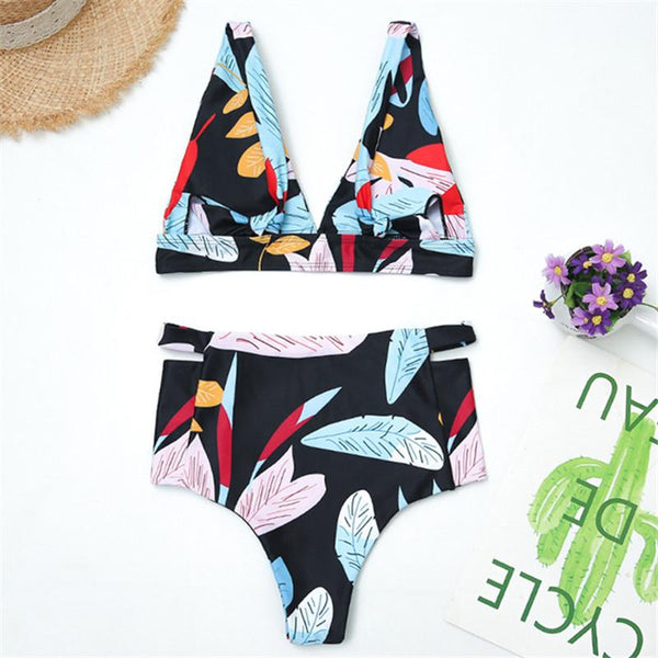 Sexy fashion print bikini fission swimsuit