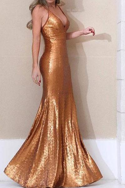 Sexy Shining Sling Fishtail Bodycon Dresses