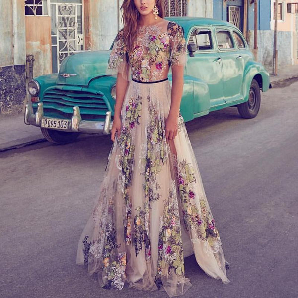Sexy Embroidered Printed Mesh Short-Sleeved Maxi Evening Dresses