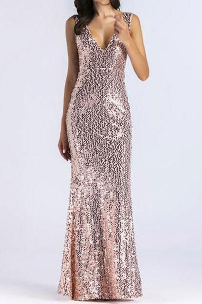 Deep V-Neck Glitter Plain Evening Dresses