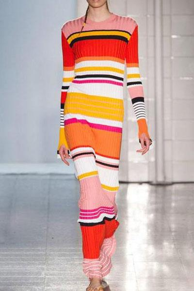 Fashion Slim Rainbow Striped Knitted Maxi Dress