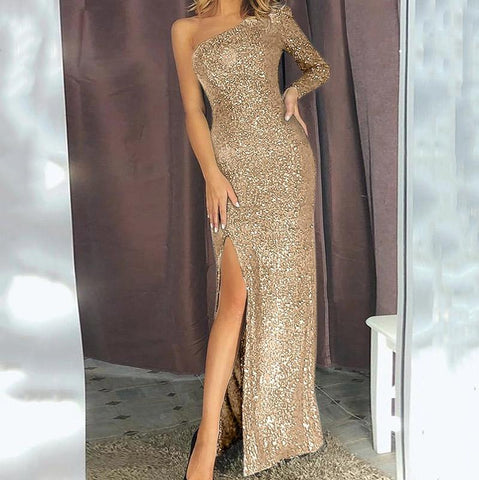 Sexy slanted shoulder sequined split dress