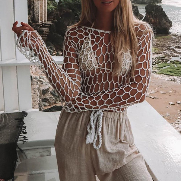 Sexy vacation beach mesh lace openwork blouse