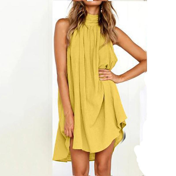 Casual Round Neck Pure Colour Pleat Sleeveless Dresses