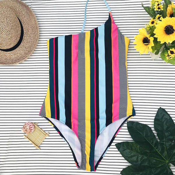 Sexy sloping bikini color striped one-piece swimsuit