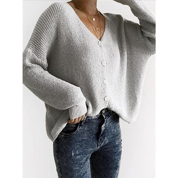 V Neck Long Sleeve Button Plain Sweaters