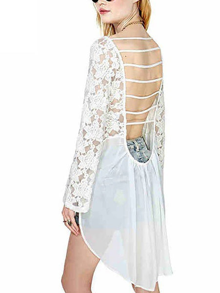 Sexy Lace Bare Back Irregular Hollow Out Shirt