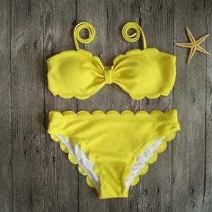 Sexy Bikini Solid Color Lace Split Swimsuit