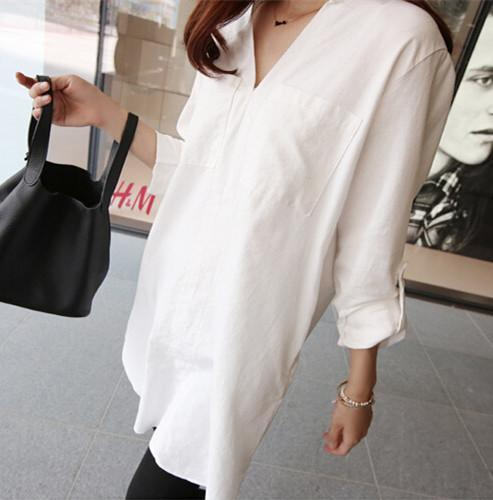 V Collar White Casual   Casual Shirts