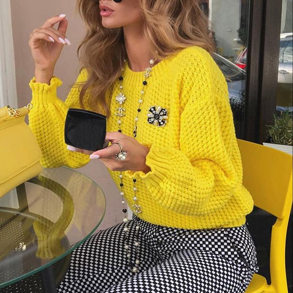 Women's Fashion Round-Neck Long-Sleeved Sweater