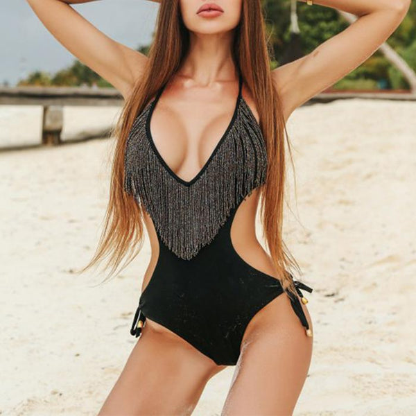 Sexy Deep V Bikini Tassel Lod One-piece Swimsuit
