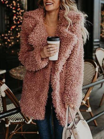 Fashion Solid Color Plush Thick Coat