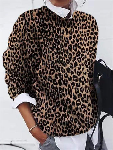Fashion Round Neck Leopard Sweater