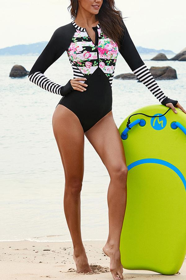 Sexy surf suit long-sleeved swimwear quick-drying triangle one-piece swimsuit