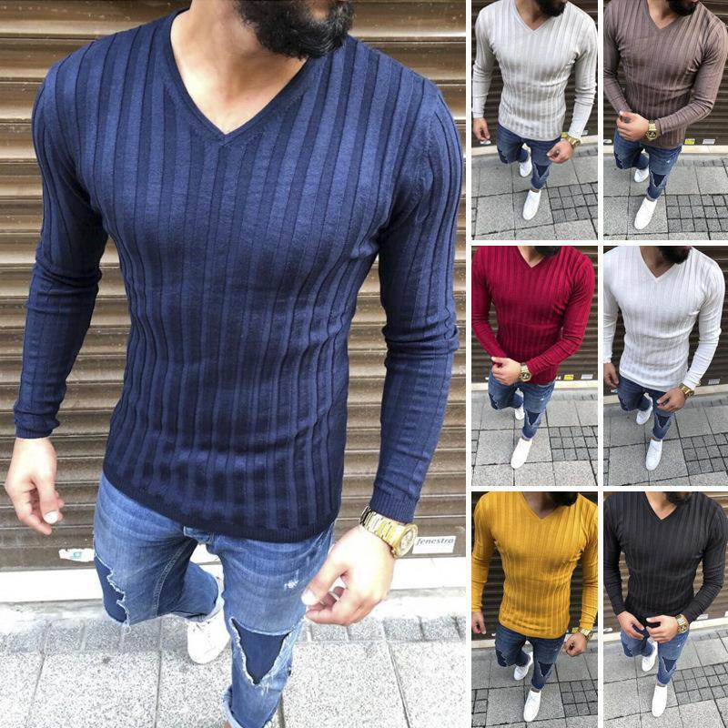 Men's spring new V-neck pit long-sleeved T-shirts