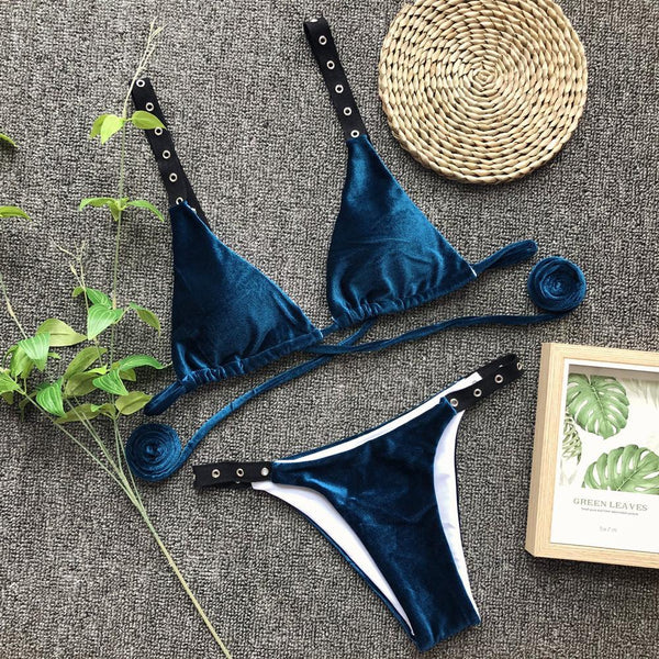 Sexy velvet bikini split swimsuit