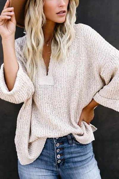 casual loose white v neck long sleeves sweater