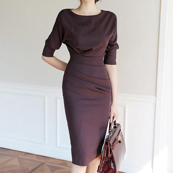 Round Neck Sleeve Pleated Dress Bodycon Dress