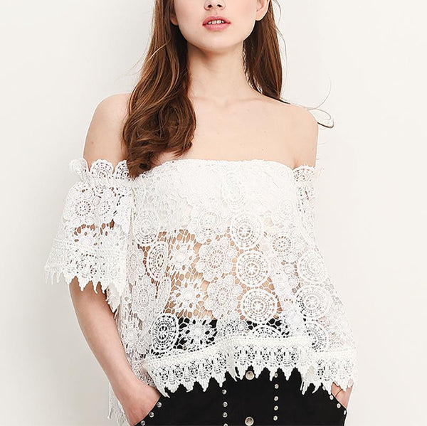 Sexy Lace Hollow Out See-Through Boat Neck Shirt
