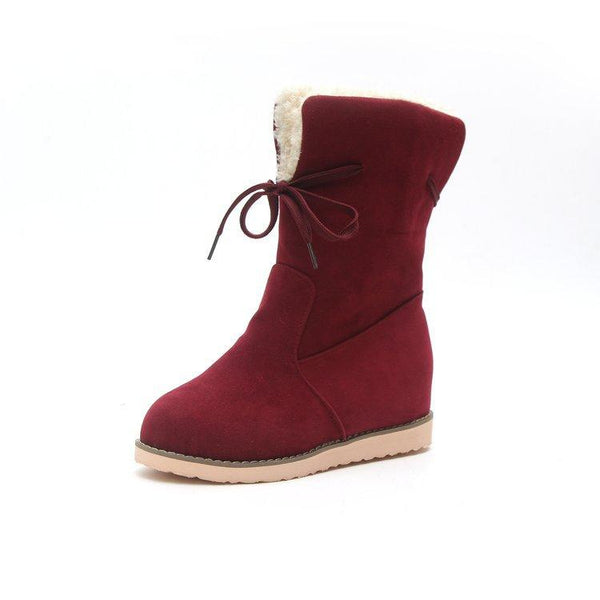 Pure Color Round Head Low Heel Inside Lift Snow Boots Belt Cotton Boots