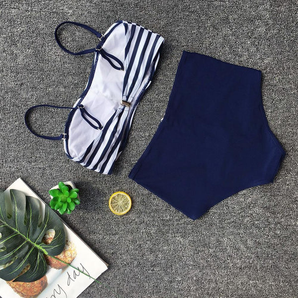 Sexy Bikini Striped Zipper Split Swimsuit