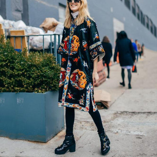 Fashion Retro Print Trench Coat